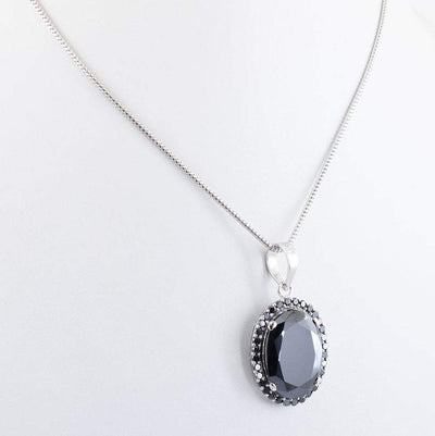 5 Ct Oval Shape Black Diamond Pendant with Gemstone Accents