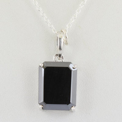 AAA Certified 3-5 Ct Emerald Cut Black Diamond Solitaire Pendant