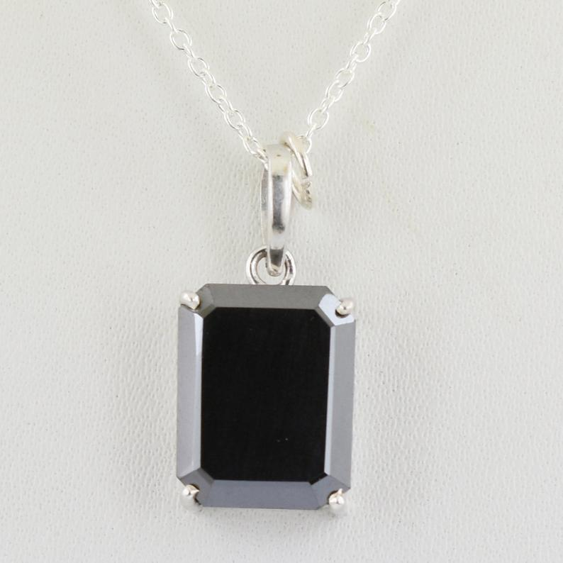 AAA Certified 3-5 Ct Radiant Cut Black Diamond Solitaire Pendant - ZeeDiamonds
