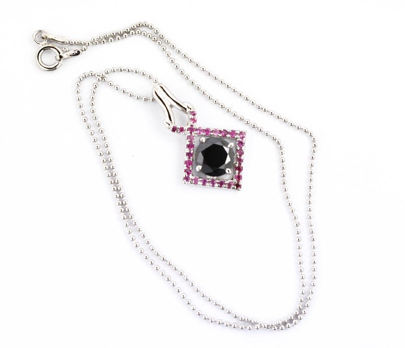 4 Ct Round Black Diamond Designer Pendant with Ruby Gemstone Accents - ZeeDiamonds