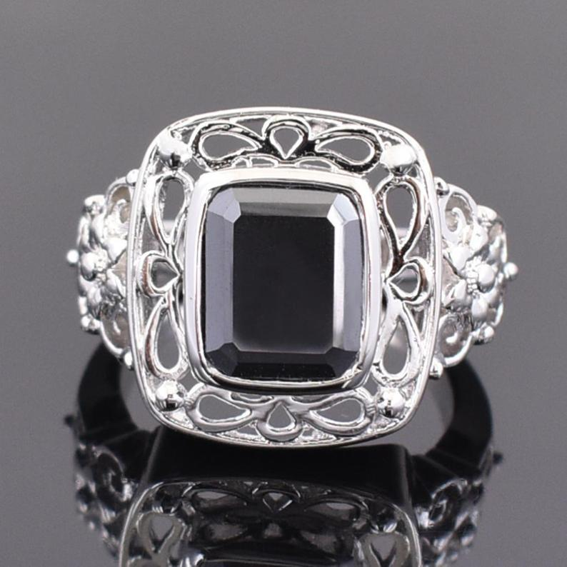 2-5 CT CERTIFIED RADIANT SHAPE BLACK DIAMOND RING