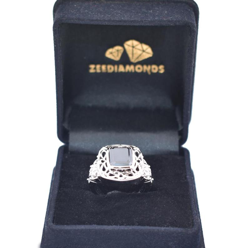 2-5 Ct, Certified Radiant Black Diamond Solitaire Ring - ZeeDiamonds