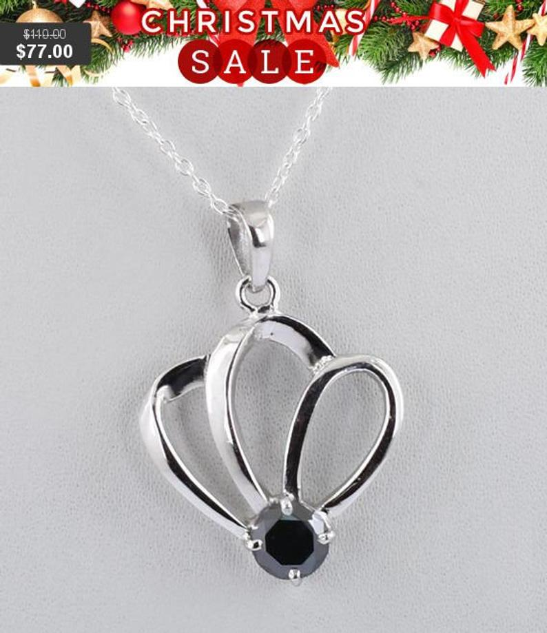 Elegant Flower Shape Black Diamond Pendant 2ct - 5ct