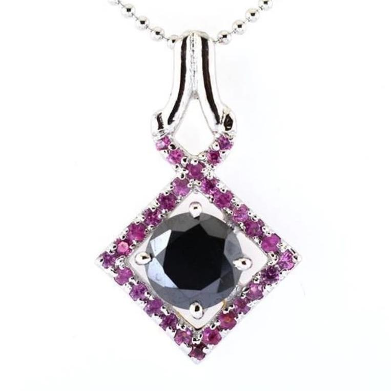 4 Ct Round Shape Black Diamond Pendant with Gemstone Accents