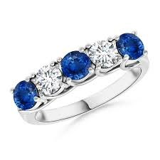 Blue Sapphire & White Diamond Band Ring in 14 Kt Gold - ZeeDiamonds
