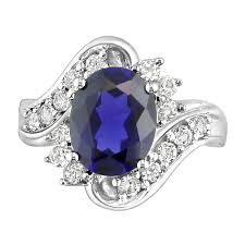 Blue Sapphire Engagement Ring With White Diamond Accents - ZeeDiamonds