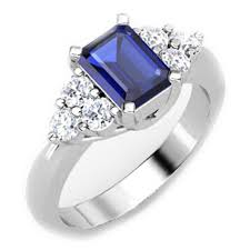 Emerald Cut Blue Sapphire Gemstone Ring With White Diamonds - ZeeDiamonds