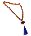 3 Mukhi-14 Faceted Rudraksh Beads Prayer Necklace - ZeeDiamonds
