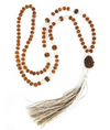 108 beads Rudraksha & Sphatik Beads Necklace with Guru Bead - ZeeDiamonds