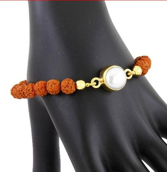 Rudraksha and Freshwater Pearl Gemstone Beaded Bracelet - ZeeDiamonds