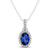 Sapphire Pendant with Diamonds in 925 Silver/14 K Gold. VVS1;G Color.AAA