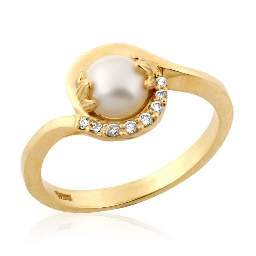Pearl & White Diamond Gemstone Ring In 925 Silver - ZeeDiamonds