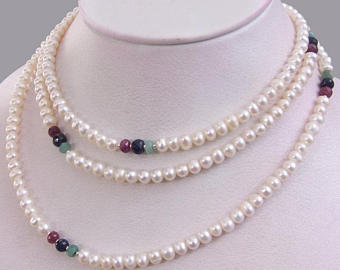 5 mm Pearl (Moti) & Ruby, Blue Sapphire Multi Gemstones  Long Necklace - ZeeDiamonds