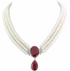 Elegant Three Row  Pearl Necklace with Ruby Gemstone