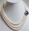 4 - 5 mm 100% Certified Pearl Gemstone 3 Strand Necklace with Blue Sapphire Clasp - ZeeDiamonds