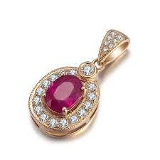 Oval Shape Madagascar Ruby Pendant With VVS1 White Diamond Accents
