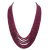 Seven Row 3 mm-4 mm Cabochon Ruby Necklace - ZeeDiamonds