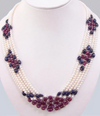 6x4 mm Pearl, Blue Sapphire and Ruby Gemstone Beaded Necklace