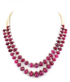 Two Row African Ruby Gemstone Necklace With Pearls - ZeeDiamonds