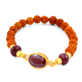 Rudraksha And Ruby Gemstone Bracelet, Eco Friendly - ZeeDiamonds