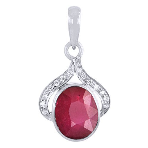 Ruby Pendant with Diamonds in 925 Silver. VVS1;G Color Diamonds.Certified. - ZeeDiamonds