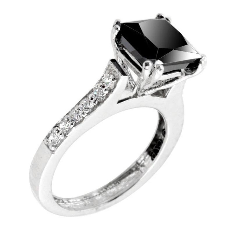 1.7 Ct Princess Cut Black Diamond Designer Ring with White Diamonds Accents - ZeeDiamonds
