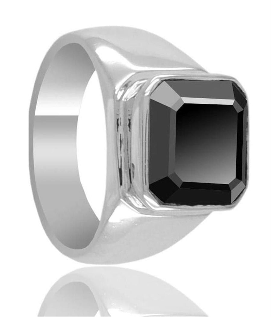 3.3 Cts Asscher Cut Black Diamond Men's Ring In Sterling Silver - ZeeDiamonds