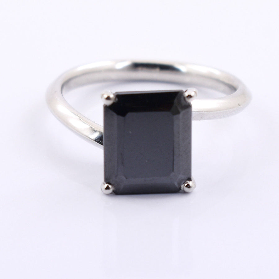 4 Ct AAA Certified Radiant Shape Black Diamond Ring In 925 Silver. - ZeeDiamonds