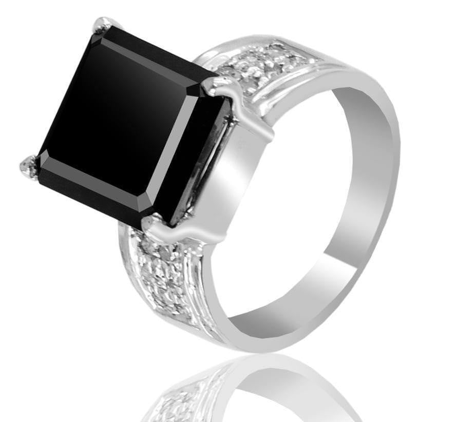 4.5 Ct Radiant Cut Black Diamond Ring With White Diamond Accents! - ZeeDiamonds