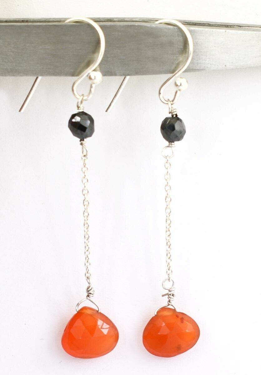 10.10 Ct Black Diamond & Carnelian Drops Dangler Earrings - ZeeDiamonds