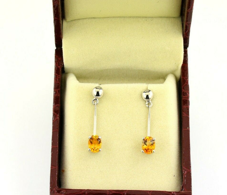 Stunning Citrine Gemstone Dangler Studs in 925 Sterling Silver