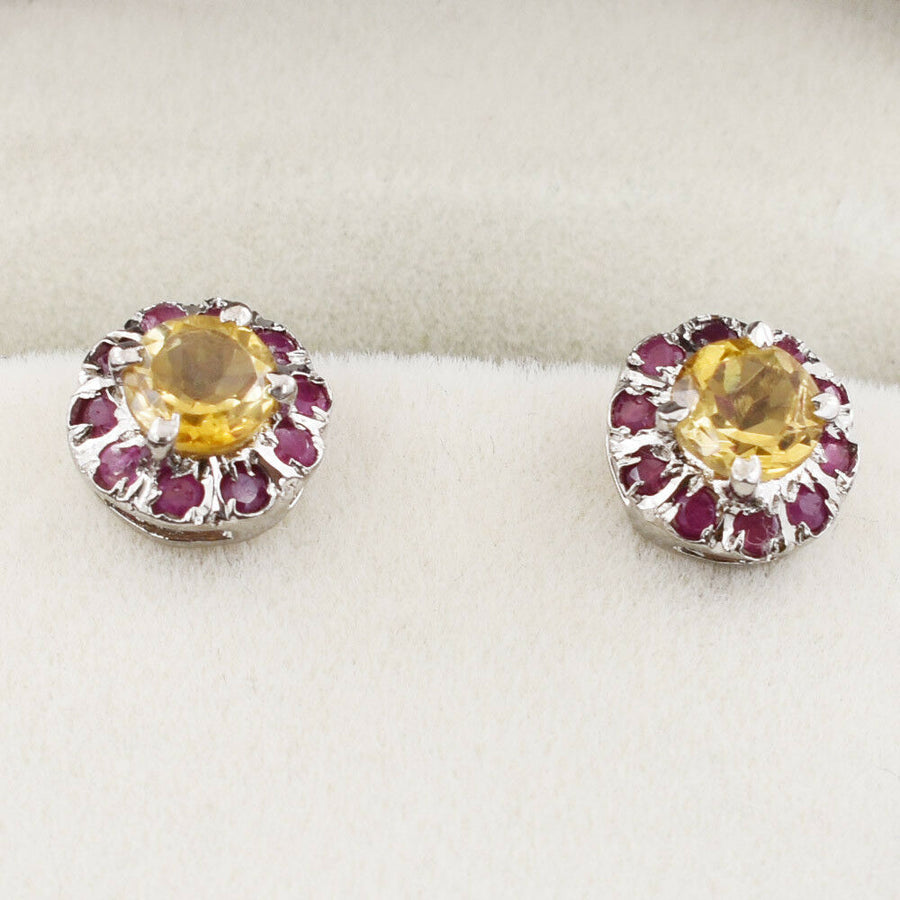 10 mm Yellow Citrine Gemstone with Ruby Accents Studs Earring In 925 Silver - ZeeDiamonds