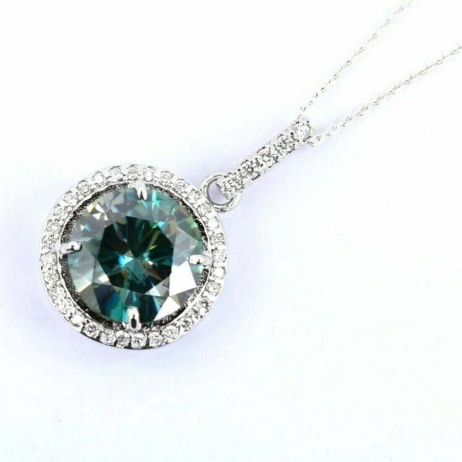 5.81 Ct Blue Diamond Pendant with 0.40 Ct White Diamond Accents - ZeeDiamonds