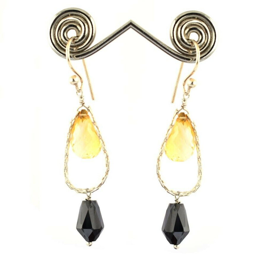 18.15 Ct Black Diamond & Citrine Drops Dangler Earrings - ZeeDiamonds
