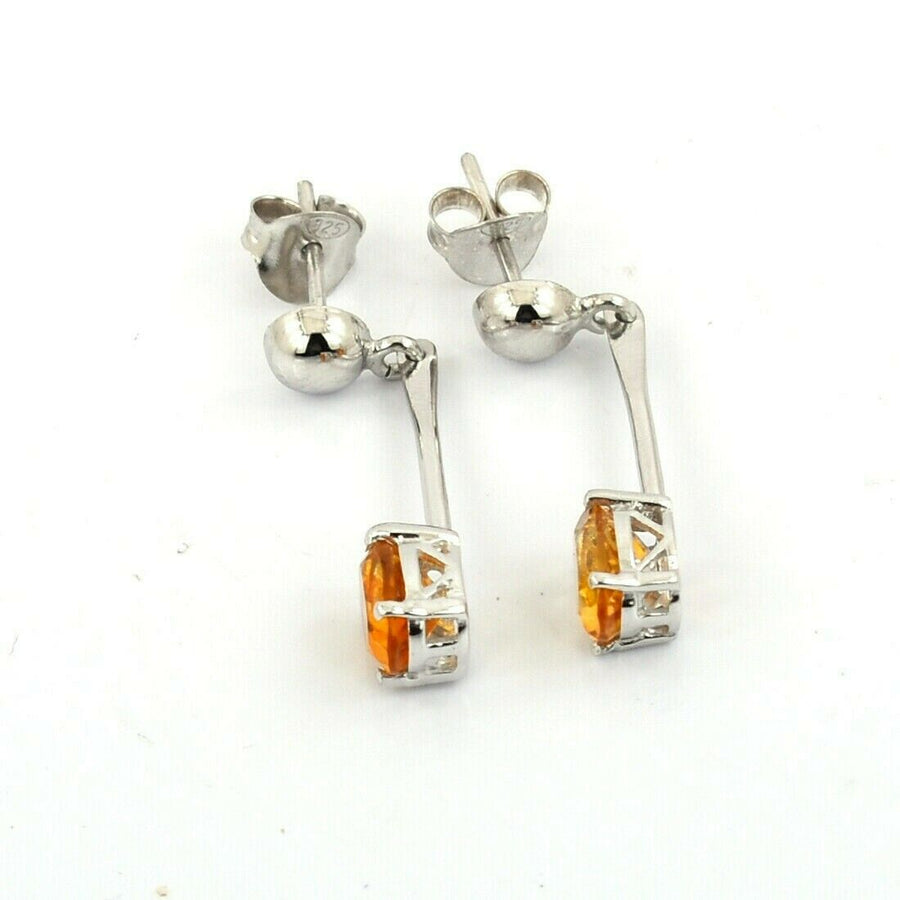 Stunning Citrine Gemstone Dangler Studs In 925 Sterling Silver - ZeeDiamonds