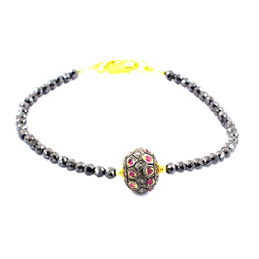 Black Diamond Beads With Ruby Pave Diamond Bead, Bracelet In Yellow Gold Clasp - ZeeDiamonds