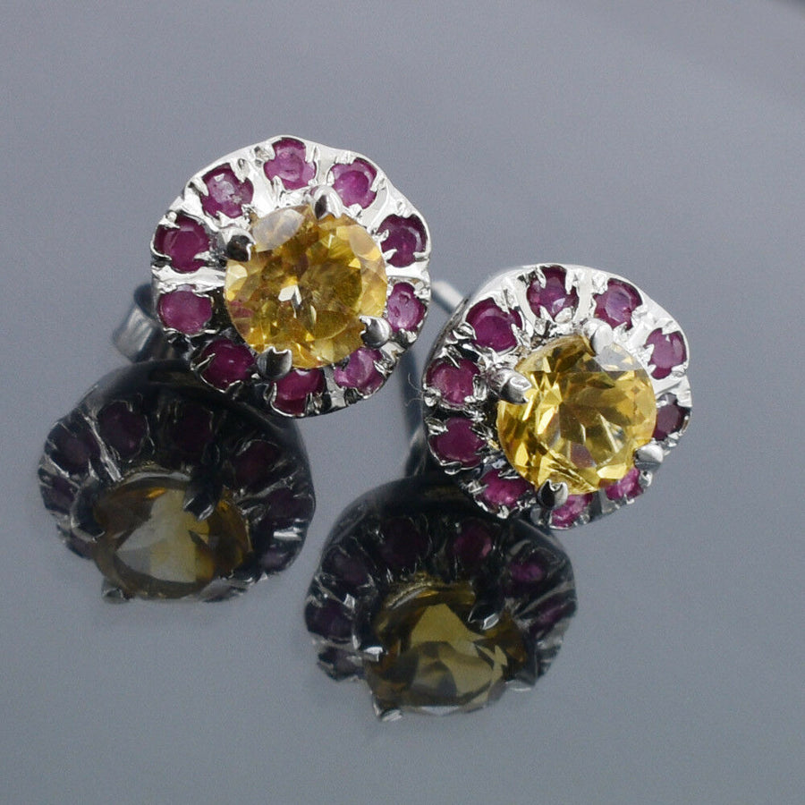 Ruby & Citrine Gemstone Studs In 925 Silver With Ruby Accents - ZeeDiamonds