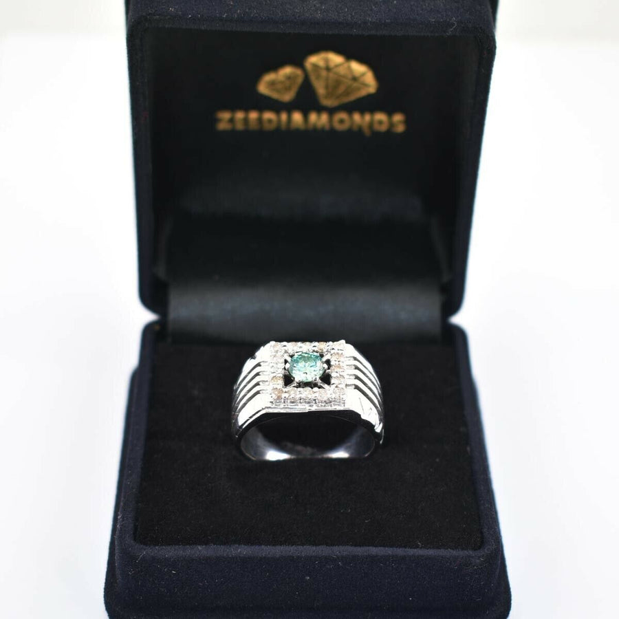 Blue Diamond Ring With White Diamond Accents. Great Shine & Luster! - ZeeDiamonds