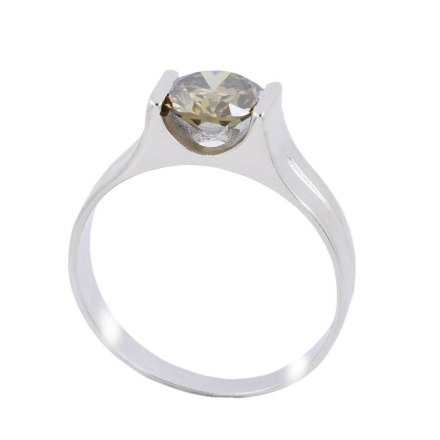 2.25 Ct Round Shape Champagne Diamond Solitaire Ring - ZeeDiamonds