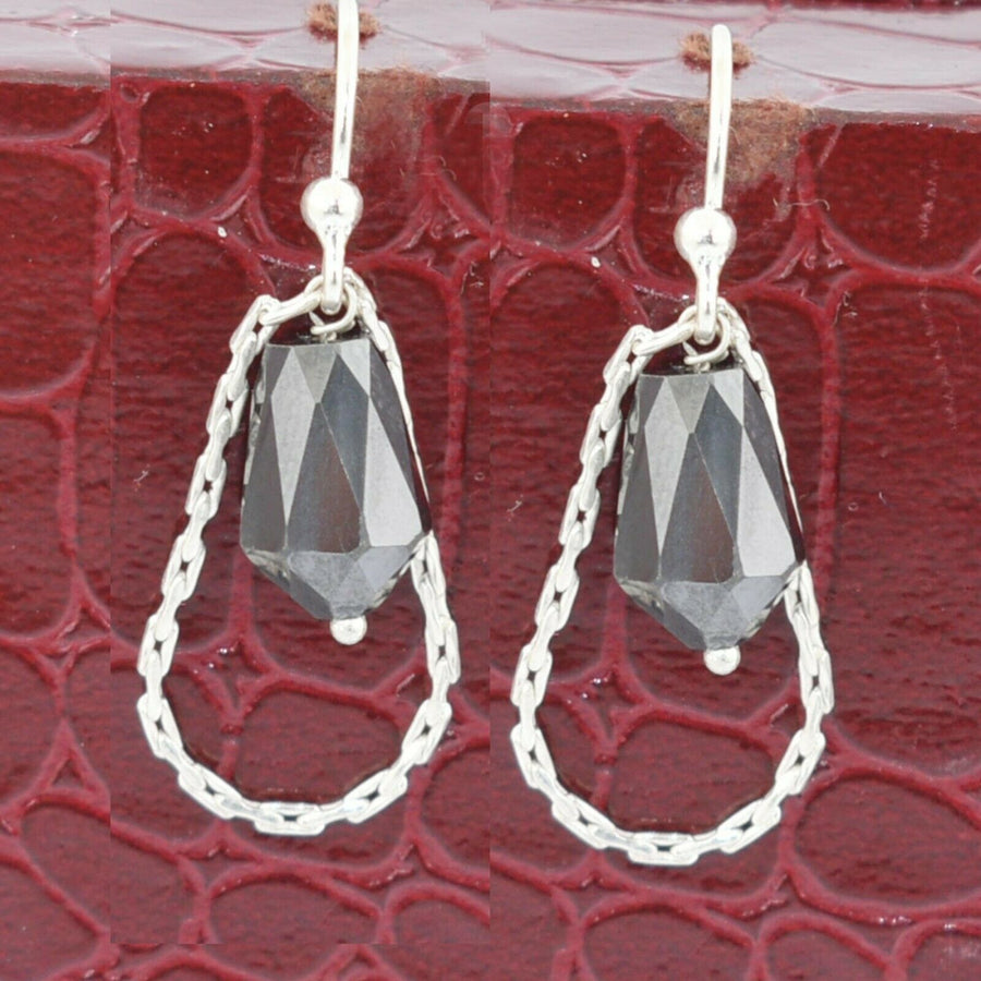 Very Elegant and Unique Black Diamond Dangler Earrings in Sterling Silver - ZeeDiamonds