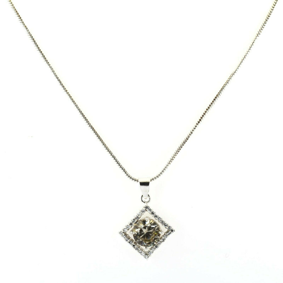2.70 Ct 100% Certified Champagne Diamond with White Diamond Accents, Pendant For Gift - ZeeDiamonds
