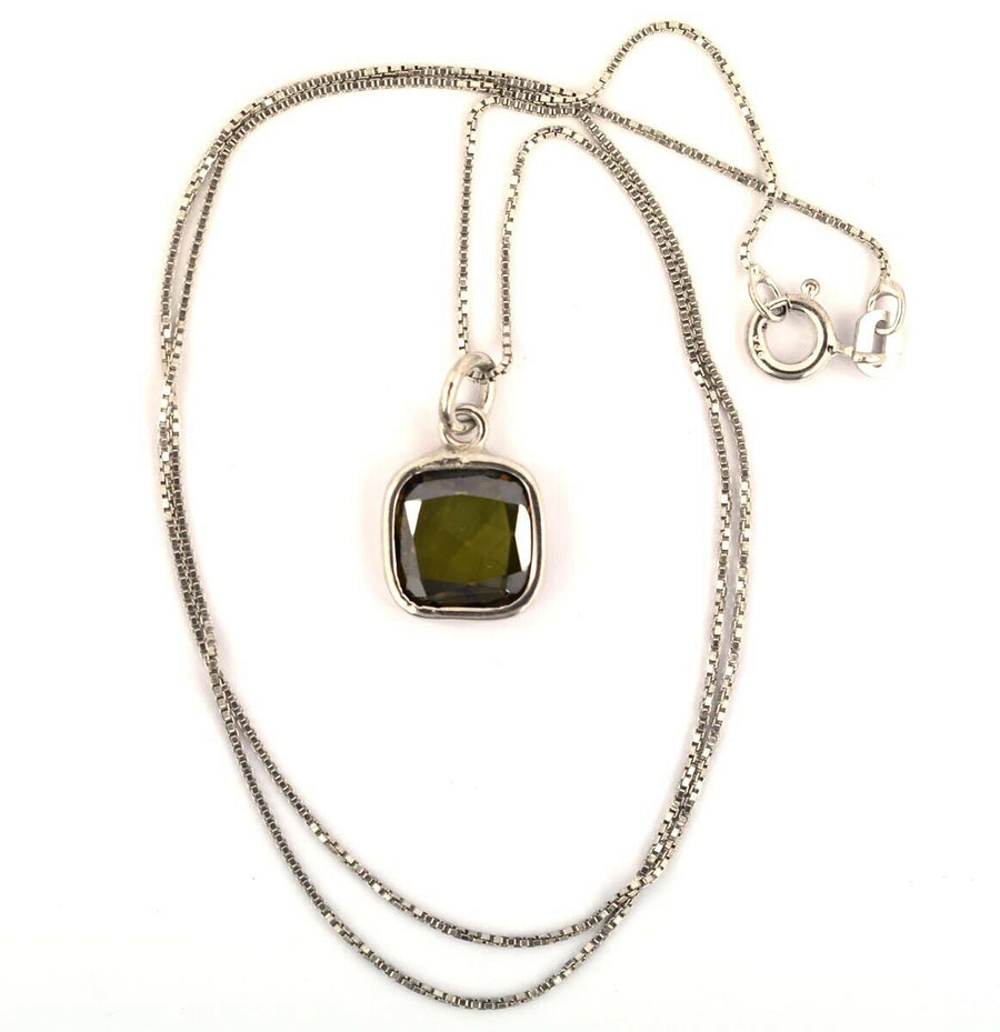 1.55 Ct Blue/Green Mysterious Diamond Pendant In Bezel Setting - ZeeDiamonds