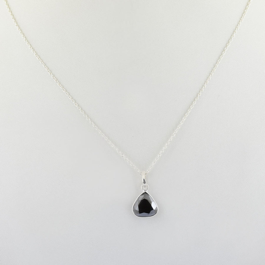 4 Ct Trillion Shape Black Diamond Solitaire Pendant in Bezel Setting - ZeeDiamonds