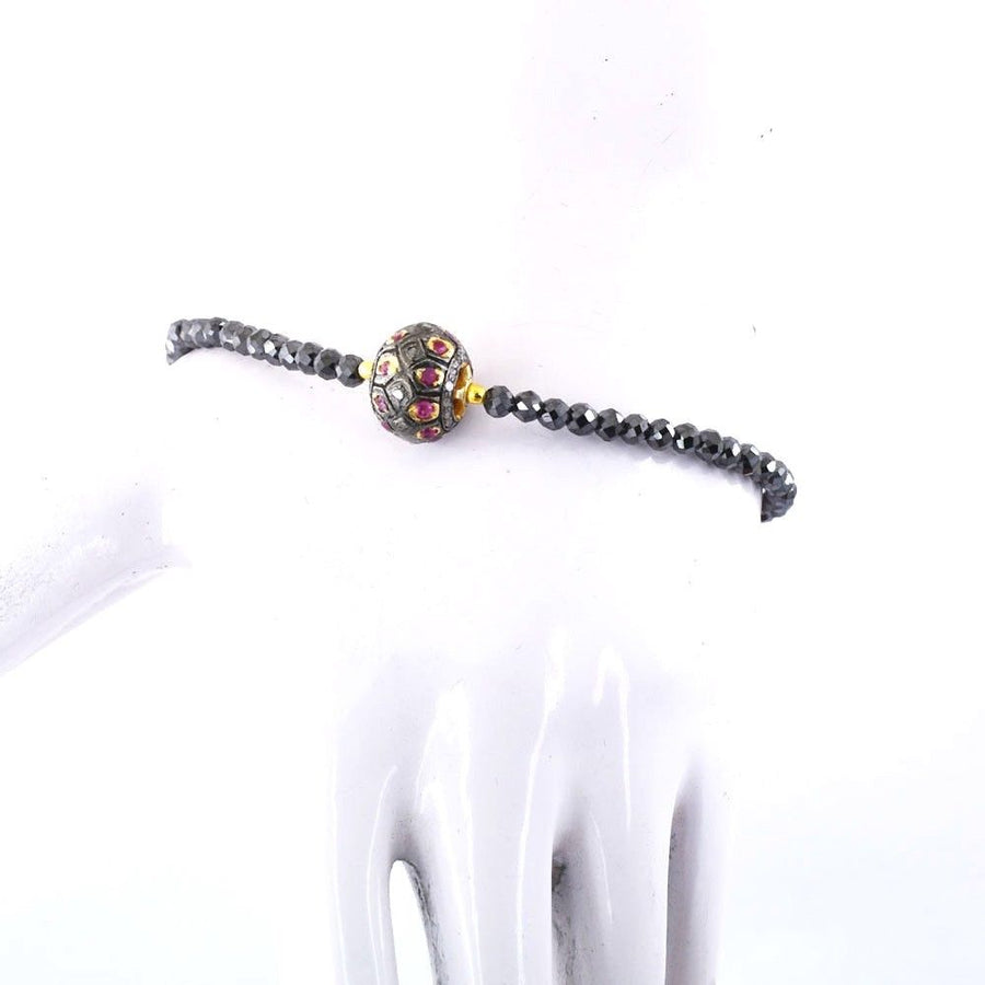 Black Diamond Bracelet With Ruby Pave Diamond Bead ,925 Silver