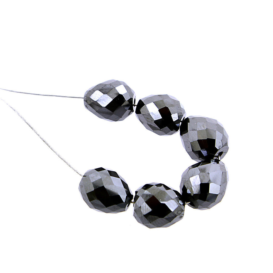 8 -7 mm 100% Certified 6 Pcs Black Diamond Beads For Jewelry Making - ZeeDiamonds