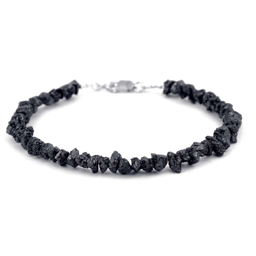 20 Carat Rough Black Diamond Bracelet In Sterling Silver with Free Studs - ZeeDiamonds