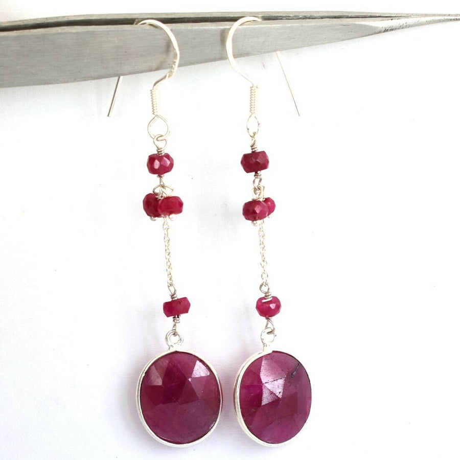 29.35 Ct Unique Natural African Ruby Gemstone Dangler Earrings - ZeeDiamonds