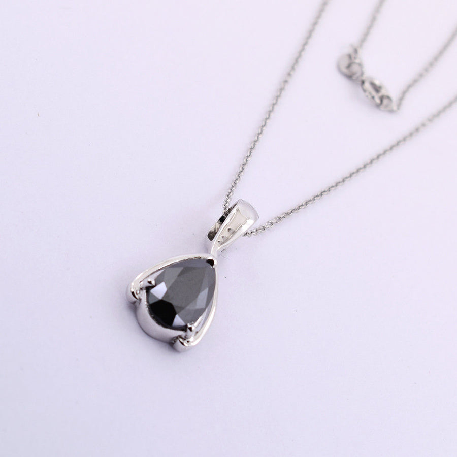 3.50 Ct Pear Shape Black Diamond Pendant In 925 Sterling Silver- Certified- AAA - ZeeDiamonds