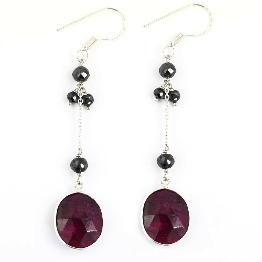 African Ruby Gemstone Dangler Earrings with Black Diamond - ZeeDiamonds