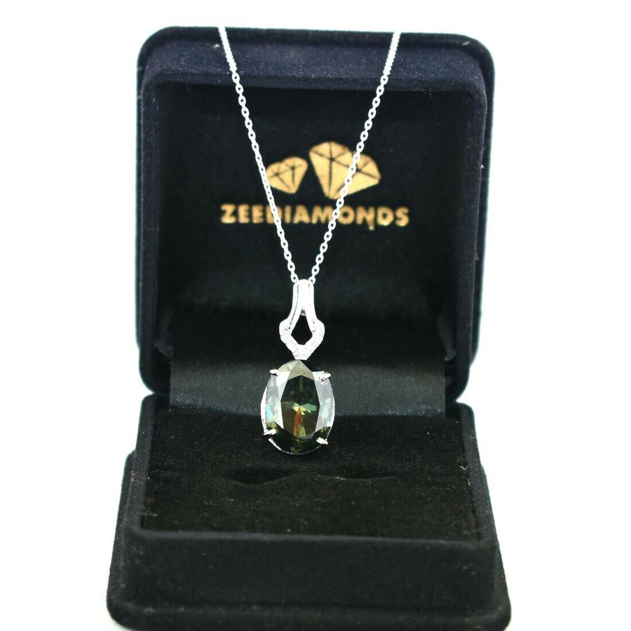 5.96 Ct 100% Certified Deep Blue Diamond Pendant with White Accents - ZeeDiamonds
